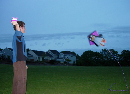 Alex Flying His Tux Kite